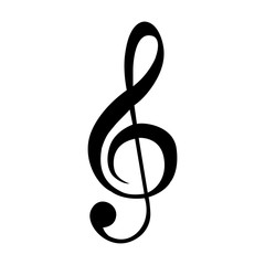Isolated musical note silhouette on a white background, vector illustration