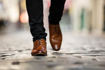 Italian Leather Shoes Walking on Cobblestone Street