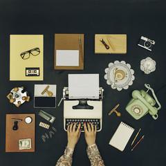 Woman working in a vintage desktop