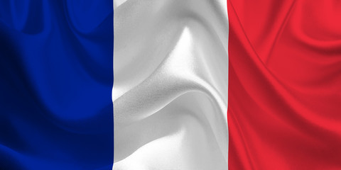Waving flag of the France. French Flag in the Wind. French National mark. Waving France Flag. France Flag Flowing.