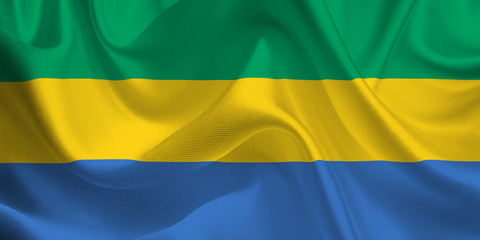 Waving flag of the Gabon. Flag in the Wind. National mark. Waving Gabon Flag. Gabon Flag Flowing.