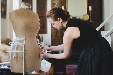 Designer working in home studio