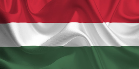 Waving flag of the Hungary. Hungarian Flag in the Wind. Hungarian National mark. Waving Hungary Flag. Hungary Flag Flowing.