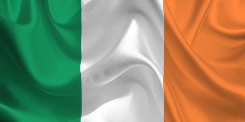 Waving flag of the Ireland. Irish Flag in the Wind. Irish National mark. Waving Ireland Flag. Ireland Flag Flowing.