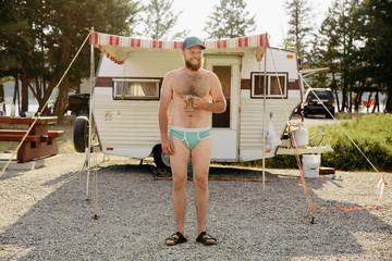 Man Standing in his underwear