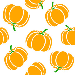 Cartoon pumpkins on a white background. Simple vector background Cute autumn pattern Seamless textile. design for greeting card and invitation of seasonal fall holidays, halloween, thsanksgiving,