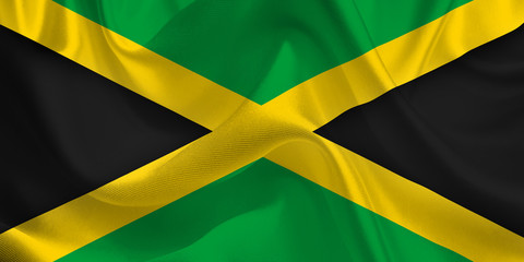 Waving flag of the Jamaica. Jamaican Flag in the Wind. Jamaican National mark. Waving Jamaica Flag. Jamaica Flag Flowing.