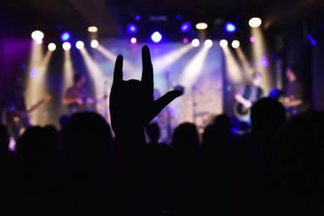 Devil's horns at a rock concert