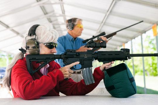 Shooting: Senior Couple Takes Target Practice At Gun Range