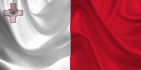 Waving flag of the Malta. Flag in the Wind. National mark. Waving Malta Flag. Malta Flag Flowing.