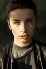 street portrait of a beautiful young model