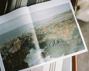 Two rings on photo in magazine