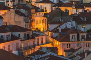 Lisbon, Portugal - Evening Cityscape of Alfama - the Oldest Part of the City