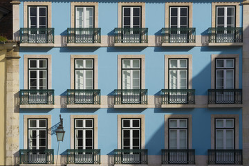 Typical House Facade in Downtown Lisbon, Portugal