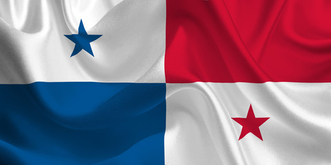 Waving flag of the Panama. Flag in the Wind. National mark. Waving Panama Flag. Panama Flag Flowing.