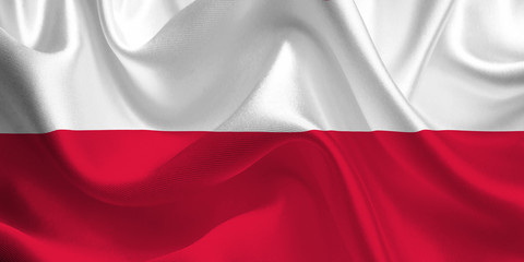 Waving flag of the Poland. Polish Flag in the Wind. Polish National mark. Waving Poland Flag. Poland Flag Flowing.