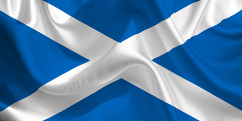 Waving flag of the Scotland. Scottish Flag in the Wind. Scottish National mark. Waving Scotland Flag. Scotland Flag Flowing.