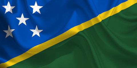 Waving flag of the Solomon Islands. Flag in the Wind. National mark. Waving Solomon Islands Flag. Solomon Islands Flag Flowing.