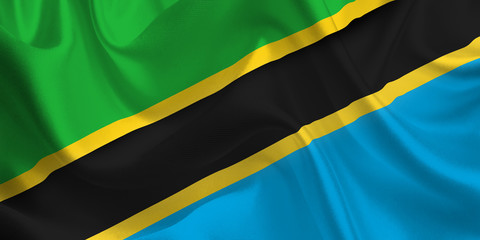Waving flag of the Tanzania. Flag in the Wind. National mark. Waving Tanzania Flag. Tanzania Flag Flowing.