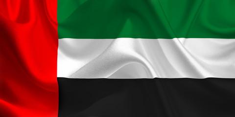 Waving flag of the United Arab Emirates. Flag in the Wind. National mark. Waving United Arab Emirates Flag. United Arab Emirates Flag Flowing.