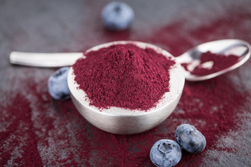 Blueberry Powder, selective focus