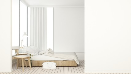 The interior bedroom space furniture 3d rendering and background decoration in hotel - minimal style concept