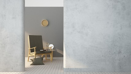 Wall Mural - 3d rendering The interior relax space furniture and background white decoration minimal - empty space
