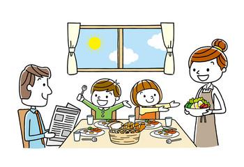 家族:食事、食卓、朝食