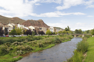 Cityscape of the town of Najera, La Rioja, Spain. The Najerilla river is in his way across the town.
