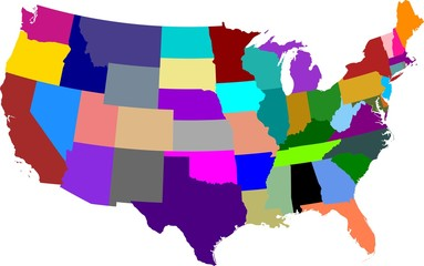 Colored map of the United States of America split into individual states. All continental states.