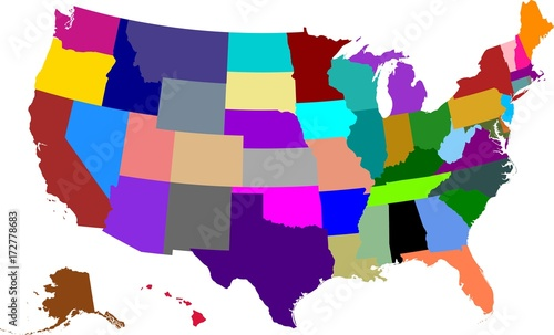 Colored map of the United States of America split into ...