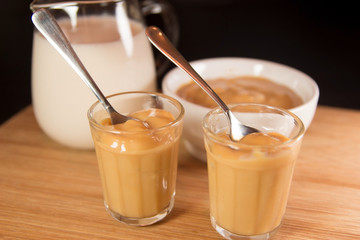 Doce de leite or dulce de leche is sweet made of milk, caramel milk dessert.