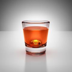 Single shot of whiskey glass drink on white Studio Light, 3D render