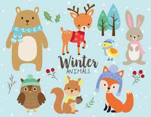 Fototapete - Vector illustration of cute winter animals including bear, deer, rabbit, bunny, owl, squirrel, bird and fox wearing winter outfits.