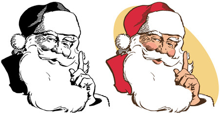A realistic portrait of Santa Claus stroking his beard.
