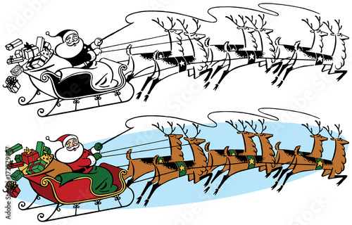 santa claus riding his sleigh pulled by his flying reindeer on