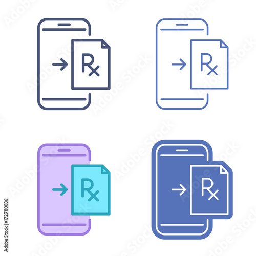 Mobile Phone With Prescription Symbol Rx Document On The Smartphone