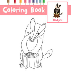Coloring page of Badger animals for preschool kids activity educational worksheet. Vector Illustration.