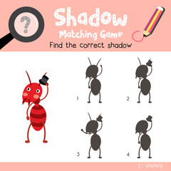 Shadow matching game of Fire Ant with black hat animals for preschool kids activity worksheet colorful version. Vector Illustration.