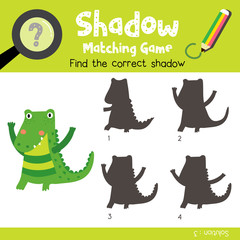 Shadow matching game of standing alligator animals for preschool kids activity worksheet colorful version. Vector Illustration.