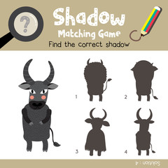 Shadow matching game of Standing Buffalo animals for preschool kids activity worksheet colorful version. Vector Illustration.