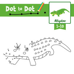 Dot to dot educational game and Coloring book of alligator animals for preschool kids activity learning number worksheet. Vector Illustration.