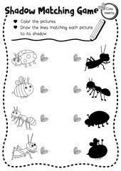 Shadow matching game of insect bug animals for preschool kids activity worksheet layout in A4 coloring printable version. Vector Illustration.