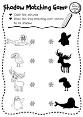 Shadow matching game of arctic animals for preschool kids activity worksheet layout in A4 coloring printable version. Vector Illustration.