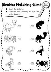 Shadow matching game of desert animals for preschool kids activity worksheet layout in A4 coloring printable version. Vector Illustration.