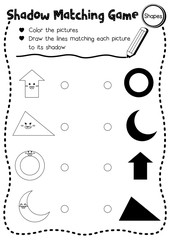 Shadow matching game of shapes for preschool kids activity worksheet layout in A4 coloring printable version. Vector Illustration.