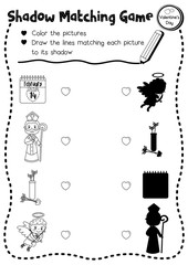 Shadow matching game for preschool kids activity worksheet in Valentines Day theme coloring printable version layout in A4.