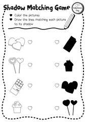 Shadow matching game of food for preschool kids activity worksheet in Valentines Day theme coloring printable version layout in A4.