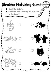 Shadow matching game of animals for preschool kids activity worksheet in Valentines Day theme coloring printable version layout in A4.