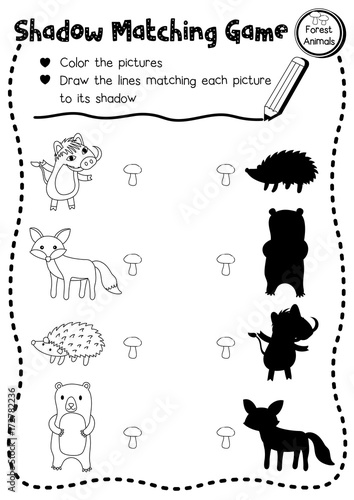 shadow matching game of forest animals for preschool kids activity worksheet layout in a4. Black Bedroom Furniture Sets. Home Design Ideas